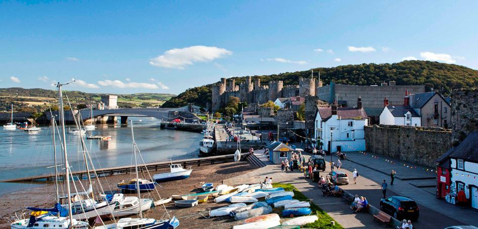 Conwy Castle and Quay in North Wales
